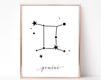 SALE -50% Gemini Zodiac Digital Print Instant Art INSTANT DOWNLOAD Printable Wall Decor