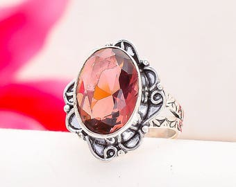 Pink Amethyst Oval Faceted Gemstone Ring Size 9 in Scrolled Sterling Silver - FREE Shipping and Gift Bag in the USA - February Birthstone