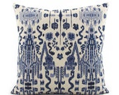 Indigo Blue Ikat Pillow Cover, Choose Your Size, Euro Square or Lumbar Pillow, Indian Pillow, Throw Pillow, Accent Pillow, Lacefield Mumbai