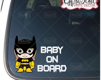 "Little Batgirl ""Baby on Board"" Vinyl Sticker"