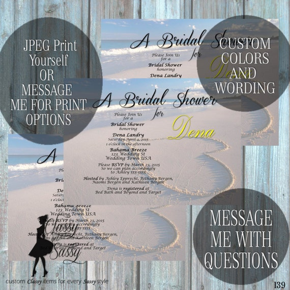 Beach Bridal Shower invitation, Beach Invitation, Blue Invitation, Tropical Bridal Shower 139