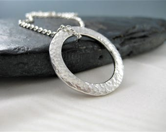 Sterling Silver Abstract Open Circular Sparkly Hammered Pendant Necklace - Designed And Handmade By CMcB Jewellery UK