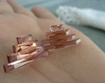 Art Deco Amethyst Purple City Stones Vintage Faceted Glass Pierced Earrings