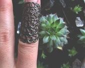 Elvish Armor Ring, Gothic Armour Ring, Above Knuckle Filigree Knuckle Ring, Midi Ring, Rustic Gold Armour Ring