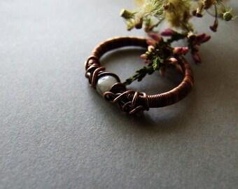 Rustic Agate Ring, Retro Agate Jewelry, Copper Ring, Agate Ring, Wire Wrapped Copper Agate Ring