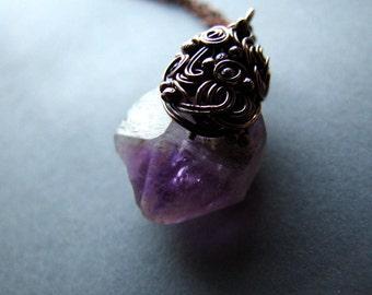 Amethyst Necklace, Raw Purple Amethyst Necklace, Organic Raw Jewelry