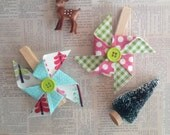 Colorful Christmas Fabric Pinwheel Clips Set of 2 Gift Accessory Christmas Wrapping