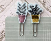 Potted Plants Fabric Planner Clips Set of 2 Pink and Yellow Pots Teacher Gifts Happy Mail