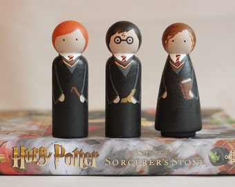 Harry Potter Wooden Peg Dolls, Set of 3, Harry, Ron, Hermione