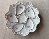 Antique French Oysterplate-High Relief Porcelain Oyster Plate