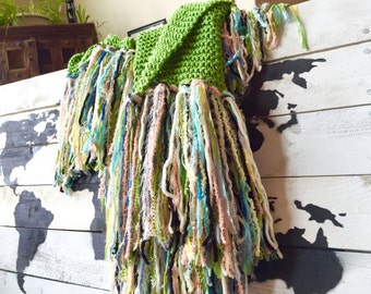 Colorful Knitted Throw Blanket in Emerald Green Chunky Knit Throw w Peach, Aqua, Grey, Black, White, Cream for Spring Fringed Home Decor Afg