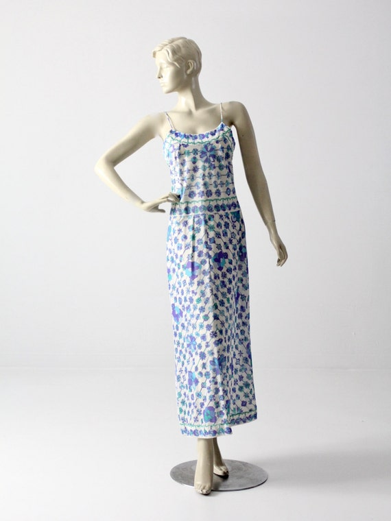 1960s Pucci slip dress, vintage Pucci Form Fit Rogers maxi loungewear, nylon dress