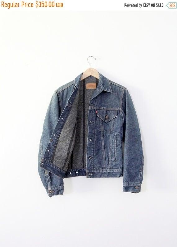 SALE 1970s Levis denim jacket, vintage blanket lined jacket, flannel lined jean jacket
