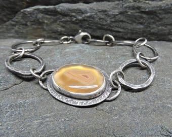 Moctezuma Agate Chain Bracelet, Adjustable Link Bracelet, 7.5 inches, Artisan Made Sterling Bracelet, Peach, Orange, Mexican Gemstone