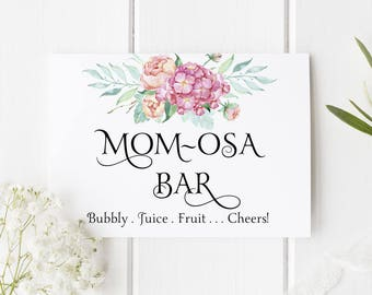 Mom-osa Bar Sign, Baby Shower Decoration, Mother's Day Decor, Brunch Champagne Bar Signage - Size 5 x 7, Printed Sign, OABLOOM