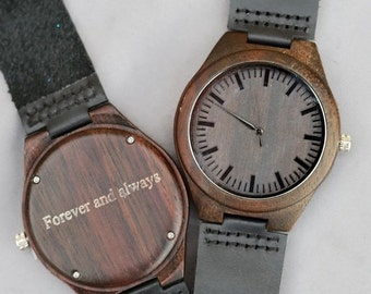 ON SALE Wooden Watch Wood Watch,Personalized Engraved Wood Wooden Watch,Groomsmen Gifts, Wedding Gifts, Anniversary Gifts, Father's Day Gift