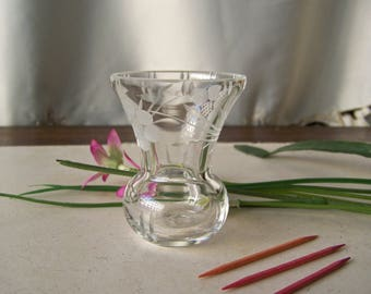 Vintage Toothpick Holder Etched and Cut Glass Toothpick Holder Floral Pattern Entertaining Hor dourves Holiday Dining Vintage 1980s