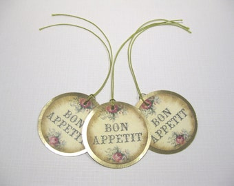 10 Paris Wedding Bon Appetit Tags - Thank You Tags - Baby Shower - Bridal Shower - Marie Antoinette Tags - Wedding Tags