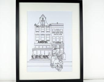 Amsterdam Print, minimalist print, minimalist art, Monochrome art, artwork, Print of Amsterdam, Holland, Picture of Amsterdam, Travel art