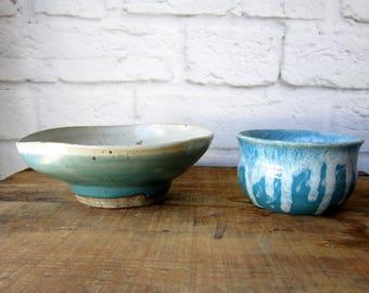 Two Rustic Handmade Low Vase - Studio Pottery Bowl  OOAK Pottery