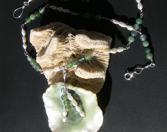 Pearl & Moss Agate Clam Necklace