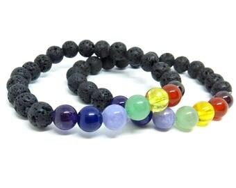 Chakra Stretch Bracelet - Lava and Gemstone Beads