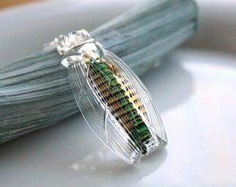 Saving The Cicadas Necklace - Huge Rare Vintage Glass Foiled Cicada Pendant - Please Read Description