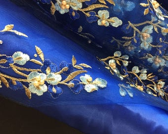 "56""/58"" Wide Royal Blue Fabrics Lining Satin Gabardine Four Way Stretch Mesh Charmeuse Embroidered Beaded Rhinestone 3D Gold Floral Tulle"