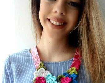 CROCHET PATTERN - Frida's Flowers Necklace,crochet flower pattern,crocheted bohemian necklaces,crochet flowers,Frida Kahlo,necklace