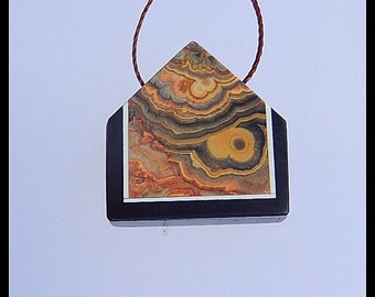 Crazy Lace Agate With Obsidian Intarsia Pendant Bead,Gemstone Bead,22x22x5mm,5.2g