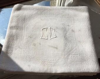 CC Monogrammed Napkin, Antique White Linen, Pure Damask Linen, Table Napkin, Monogrammed Serviette, Linen Table napkin, Hand Embroidered