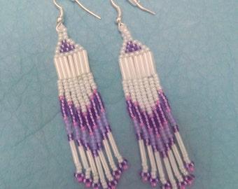 Earrings, Fringe, Hand Beaded, Native American inspired, Shades of Purple