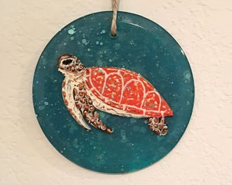 Hand painted turtle ornament