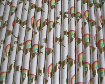 UNICORNS and Rainbows FDA approved 25 paper straws, Unicorn Party, rainbow party