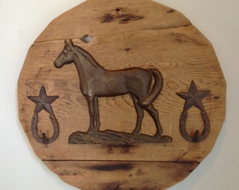 Rustic Brass Horse with Iron Horseshoe hooks wall display, 19 inch round