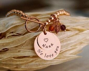 Grandma Bracelet / Personalized 14K Gold Filled, Sterling Silver or Rose Gold Beaded Bracelet / Grandma We Love you
