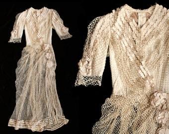 RARE Victorian Net Lace Overdress / 1800s Boned Bodice Dress / Jacket / AMAZING Near Mint Condition!!!