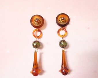 Boho Dangle Earrings - One of a Kind - Tortoise Color - STAINED GLASS BEADS - Made with Vintage - Boho Drop Earrings - Post Back Dangles