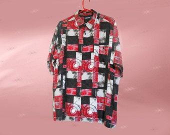 Vintage Streetwear, 80s Rayon Shirt, Mens Club Wear, Mens Rayon Shirt, Short Sleeve Button Down, Abstract Retro Shirt, Manic Print