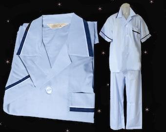 Mens Vintage Pajamas - Mens 1960s Retro Summer Pajama Set - 60s Short Sleeve PJs for Men - Unused Vintage Pajamas - Blue PJ Set - Size Large
