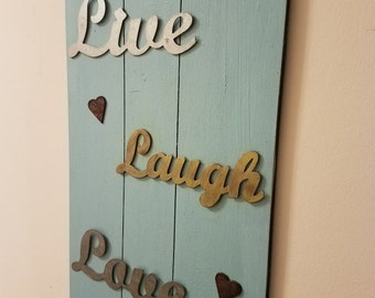 Rustic Live Laugh Love Vertical Wall Sign