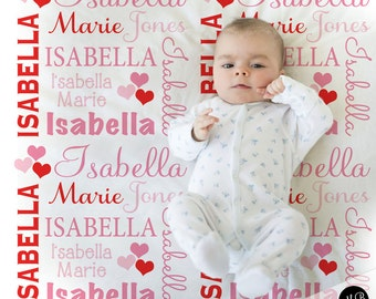 Valentine Hearts Name Blanket Baby Girl in red and pink, personalized baby gift, blanket, baby blanket, personalized blanket, choose colors