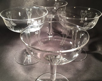 6 Art Deco Etched Champagne Coupes