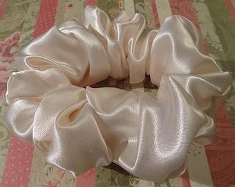 Shiny Cream Satin Handmade Hair Scrunchie