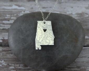 Sterling Silver Alabama State Necklace - I Heart Birmingham Necklace - Sterling Silver Alabama Necklace - Sterling Silver Alabama Pendant