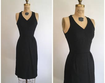 Reserved // 1950s 1960s Cage Back Little Black Dress 50s 60s Mindy Ross Wiggle Cocktail Party Dress