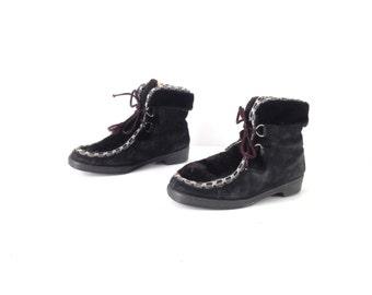 size 8 faux FUR sherpa BLACK women's winter boots booties