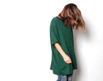 90s simple STRIPED grunge SLOUCHY forest green & black shirt style long sleeve shirt