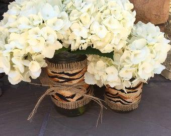 Mason Jar Wrap, Tiger Print & Burlap, Mason Jar Decoration, Baby Shower, Party, Wedding Decoration