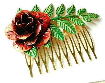 Red Rose Hair Comb Retro Green Leaves Bridal Jewelry Haircomb